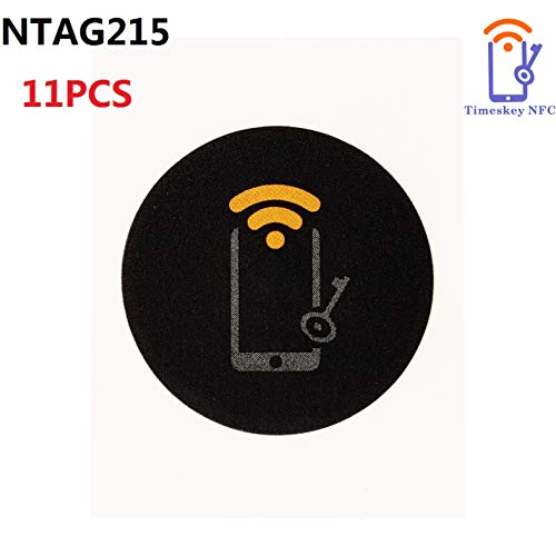 NFC Sticker (11 Stück) NFC Tag Selbstklebend vom Typ NXP NTAG 215 NFC Aufkleber Mit 504 Byte Speicher | Beschreibbar | Kompatibel Mit Amiibo Von TimesKey-Schwarz,Rund