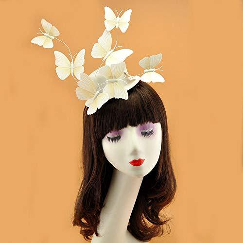 Accessoires pour cheveux Papillon en trois dimensions chapeau haut de forme coiffe robe de dîner princesse cheveux accessoires chapeau accessoires-blanc