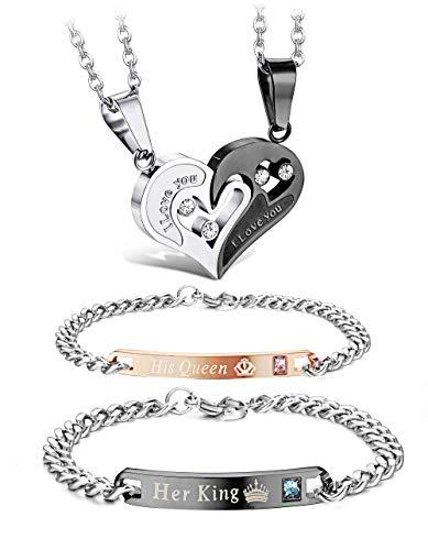 Udalyn 4Pcs Couple Couple Necklace Bracelets Set for Women Men Love Heart Pendant Necklace Bracelets Matching His and Hers Couple Jewelry