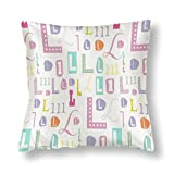 perfecone Funda de almohada de algodón con diseño de letra L, diseño de letra L, funda de almohada para sofá y coche, 1 paquete de 45 x 45 cm