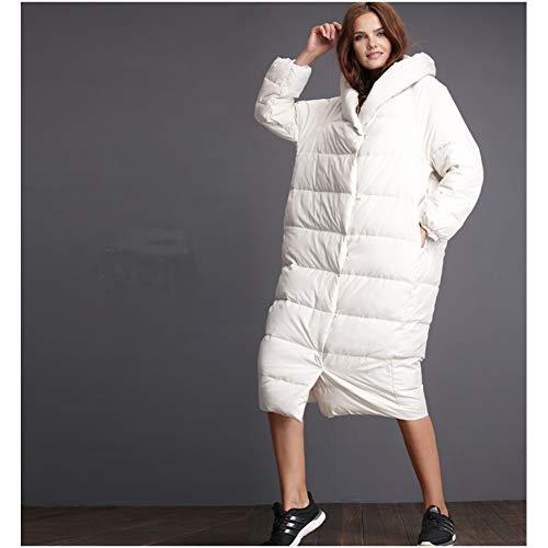 GDRFHJZ De nieuwe Winter Hooded Down Cocoon-Shaped Jurk Losse Grote Yards Mode Wild Dikke Lange Down Jacket Size