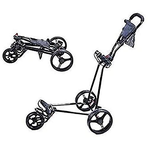 Golftrolley Golfwagen 3-Rad-Golf Push Cart Mit 360 drehendem Vorderrad, eine Sekunde zum Öffnen und Schließen, zusammenklappbare Golf-Trolley, Leicht Golf Cart