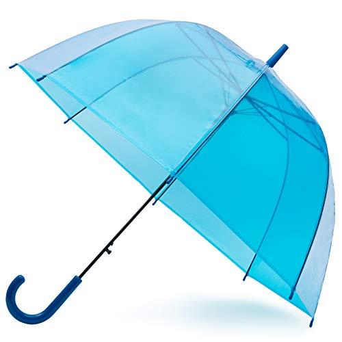 GadHome Ombrello Trasparente Cupola Blu Cielo - Ampiezza 81cm - Ombrello Pioggia Donna/Uomo - Ombrello Blu Leggero Trasparente con Apertura Automatica - Tessuto PVC e Manico a C Blu