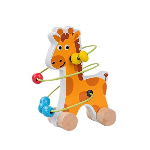 La actividad del bebé del rompecabezas del laberinto de bolas Bebé correderas de madera Roller Coaster Animal deslizante Beads Juego juguete de desarrollo 1pc de la jirafa