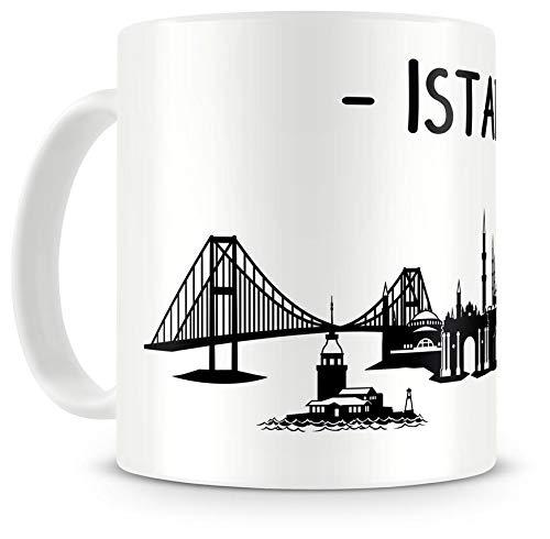 Samunshi® Istanbul Skyline Tasse Kaffeetasse Teetasse H:95mm/D:82mm weiß/schwarz