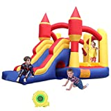RETRO JUMP Inflatable Bounce House Bouncing Jump Moonwalk Playhouse and Slide with Blower