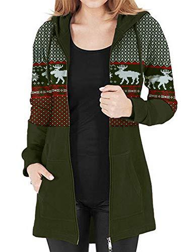 Kidsform Women's Christmas Zip Up Hoodie Elk Snowflake Printed Color Block Pullover Sweatshirts Casual Long Coat Warm Hooded Winter Party Jacket with Pockets H-Christmas X Green Medium