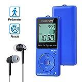 COVVY Am/FM Sport Mini Radio Pantalla LCD Estéreo Radio de búsqueda Completamente automática Podómetro Incorporado para Correr Caminar Trotar (Blue)