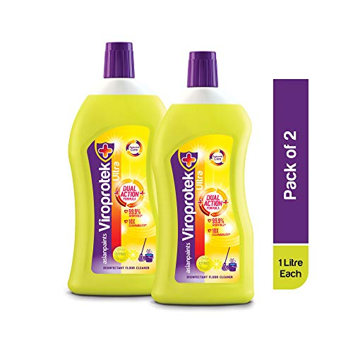 Asian Paints Viroprotek Ultra Disinfectant Floor Cleaner Liquid (Citrus), Kills 99.9% Germs* – 1L Bottle (Pack of 2)