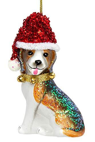 SIKORA BS488 Beagle mit Weihnachtsmütze Christbaumschmuck Glas Figur Weihnachtsbaum Anhänger