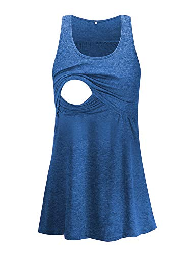 Glampunch Women's Maternity Nursing Tank Tops Sleeveless Loose Comfy Pull-up for Breastfeeding Clothes Blue