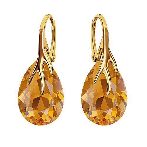 Beforya Paris – Pera – Argento 925 placcato oro 24 K – Orecchini a monachella Molti colori Splendidi orecchini da donna con cristalli Swarovski – con confezione regalo PIN/75