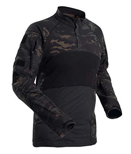 Gopune メンズ コンバットシャツ タクティカルシャツ 迷彩シャツ アウトドアシャツ ミリタリーシャツ 長袖 Tシャツ アウトドア スポーツ マルチカム 戦闘服 サバゲー装備 カモブラック XL