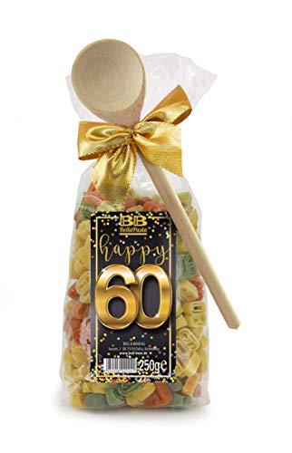 Pasta Präsent Happy 60 mit bunten Zahl-Nudeln handgefertigt in deutscher Manufaktur