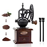Manual Coffee Grinder, Untimaty Vintage Style Wooden Hand Grinder Hand Coffee Grinder Antique Cast Iron Roller Classic French Press Coffee Mill Hand Crank Coffee Grinders With Brush
