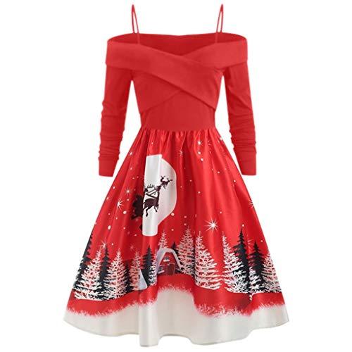 URIBAKY Frauen Große Größe Weihnachten Kleidung Kleid Damen Langarm Drucken Kleid Oversize Partykleid Vintage Cocktailkleid Rockabilly Schwingen Kleid Faltenrock