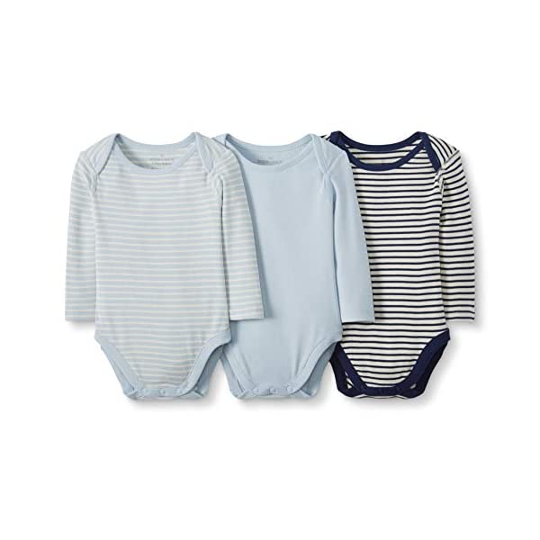 Moon and Back by Hanna Andersson Baby Boys' and Girls' 3 Pk Long Sleeve Bodysuit