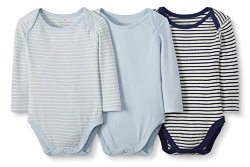 Moon and Back by Hanna Andersson Lot de 3 Bodies à manches longues en coton bio pour bébés, bleu, 6-12 mois (67-72 CM)