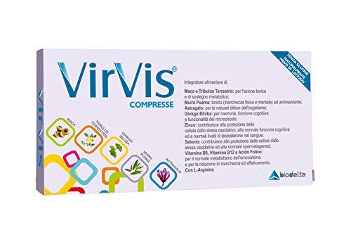 VIRVIS® Compresse integratore alimentare di Maca, Tribulus Terrestris, Ginkgo Biloba, Astragalo, Muira Puama, Zinco, Selenio e Vitamine (30 Compresse) - con...