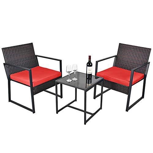USSerenaY 3 Pieces Patio Bistro Conversation Set - Outdoor Wicker Patio Furniture Sets - Rattan Chair Bistro Conversation Sets with Coffee Table for Yard, Balcony, Deck