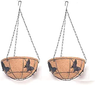 Coir Hanging Round Butterfly Basket 10 INCH 2 Pieces - Coco Gardening POTS with Stand - Butterfly Design Flower POTS Hange...