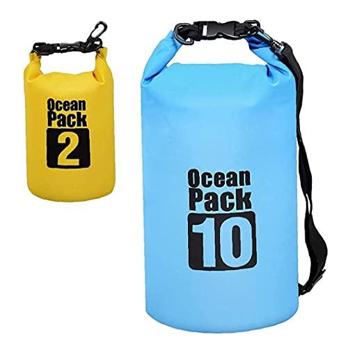 Bolsa Impermeable seco Piscina Mochila 10L 2L con Correa Ajustable para el Kayak canotaje Deriva Surf 2 Piezas