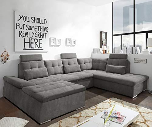 DELIFE Couch Nane Strukturgewebe Steingrau 324 x 170 cm Ottomane Rechts