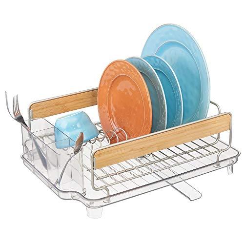 mDesign afdruiprek met lekbak - afdruiprek voor de keuken met bamboeaccenten - afdruiprek met draaibare schenktuit metaal en kunststof - mat zilverkleurig/doorzichtig