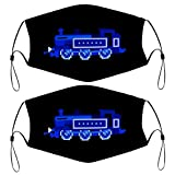 Locomotive Toy Car Pack of 2 Dust Protection Reusable Material Face Mask with 4 Filters for Kids Children Bandana Scarf