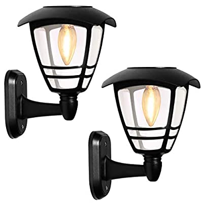 Solar Wall Lights Lantern Outdoor, Sun Powered Wall Light Fixtures,Waterproof Black Exterior LED Wall Lantern, Clear Glass Warm White Lighting for Yard, Front Porch, Garage and Garden -2 Pack