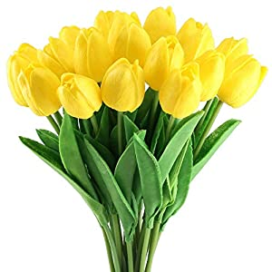 Meccion – Ramo de tulipanes artificiales para boda, con aspecto de látex, para decoración de casa, oficina, fiesta o…