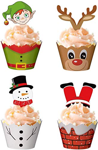 120 Pieces Christmas Cupcake Toppers Wrappers Party Supplies Favors - Snowman Santa Claus Reindeer Elf