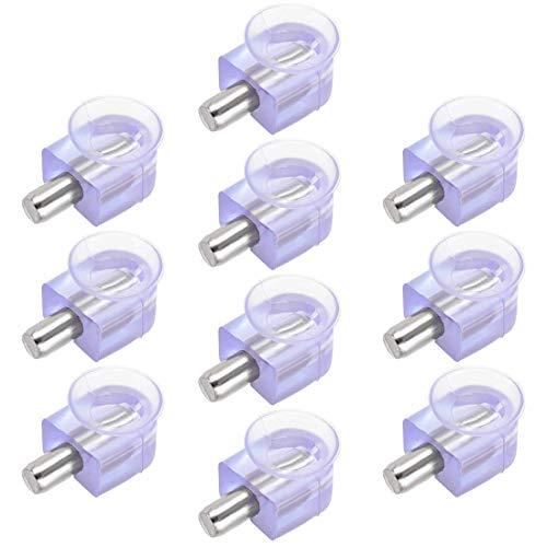 DyniLao - Clavijas de soporte para estante, soporte de abrazadera de vidrio, clavo de aleación de zinc, clavo de 5 mm de diámetro con ventosa, 10 piezas