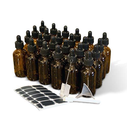 Mockins 24 pack Amber 2 Oz Dropper Glass Bottles | The Amber Glass Bottles Includes a Dropper & Funnel and Brush with Bonus Labels to Mark Each One