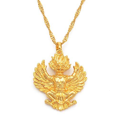 Oro Color Tailandés Budista Colgante Collares Para Las Mujeres Niñas Garuda Emblema De Tailandia Joyería El Phra Khrut Pha 45cm