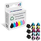 HOTCOLOR 12 Pack + 1 Black Ink Cartridges for HP 02 HP 02XL Photosmart 3310 C6180 C5280 C6280 Printer