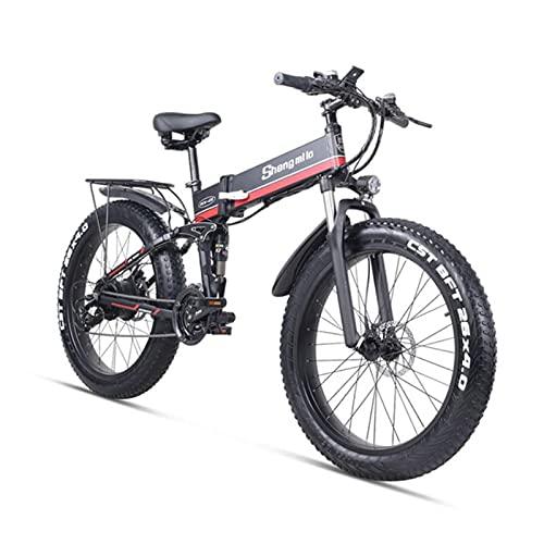 ZWHDS Bicicleta eléctrica - 48V E-Bicicleta Tinta de Grasa 1000W Motor sin escobillas Scooter Plegable Adulto Bicicleta Litio Batería Montaña Nieve Ebike (Color : Red)
