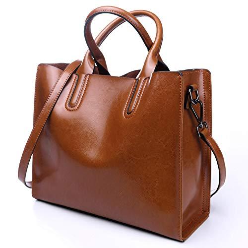 Leather Bags Women's Bucket Famous Brand Handbags Tote Shoulder,Brown
