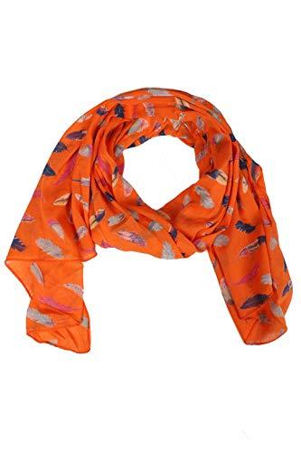 Zwillingsherz Seiden-Tuch Damen mit Feder Muster - Made in Italy - Eleganter Sommer-schal für Frauen - Hochwertiges Seidentuch/Seidenschal - Halstuch und Chiffon-Stola Dezent Stilvoll - Orange
