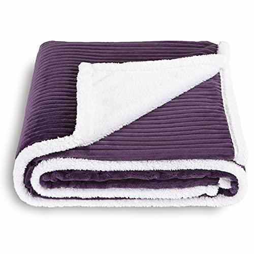 SOCHOW Sherpa Fleece Throw Blanket, Super Soft Fluffy Warm Stripe Plush Blanket for Sofa Couch Bed 50 x 60 Inches, Aubergine