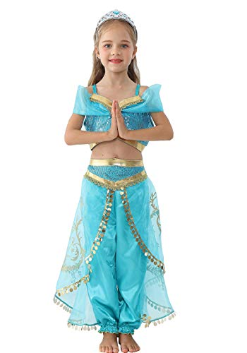 QWZY Toddler Kid Girls Princess Costume Halloween Party Cosplay Dress Up Dresses (Crop top with Pants, 4T)