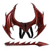 YDYL-LI Neue Halloween Karneval Kinder Kleid Spielzeug Drachenflügel Schwanz Anzug Halloween Dekor, Rot
