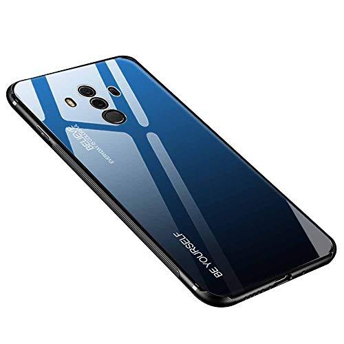 Hülle für Huawei Mate 10 Pro, Gehärtetes Glas Zurück mit Weichem TPU Silikon Rahmen Handyhülle Farbverlauf Farbe Hülle Schutzhülle für Huawei Mate 10 Pro (Blau-Schwarz)