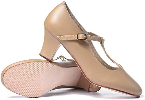 Theatricals Adult 2  T-Strap Character Shoes T3300TAN08.0 Tan 8 M US