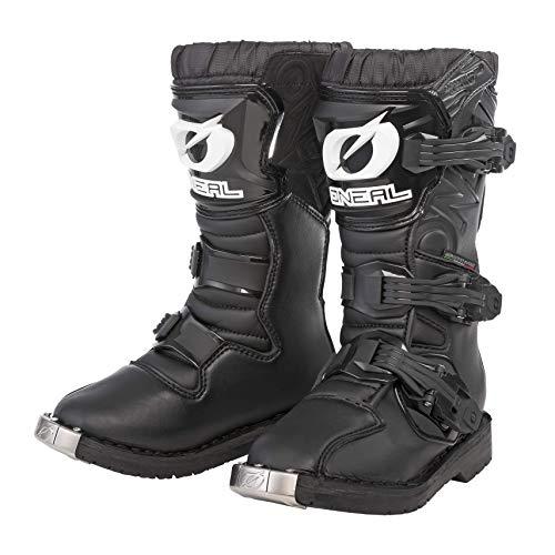 O'NEAL | Botas de Motocross | Moto Enduro | Confort gracias a la plantilla de malla de aire, cuatro hebillas, material sintético de Perdurable | Botas Rider Pro Youth | Niños | Negras | Talla 6/38