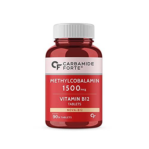 Carbamide Forte Vitamin B12 1500mcg - Active form of Methylcobalamin B12 Supplement - 90 Veg Tablets