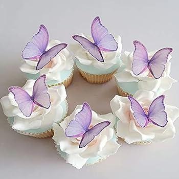 GEORLD Edible Wafer Paper Butterflies Set of 48 Purple Cake Decorations Cupcake Topper