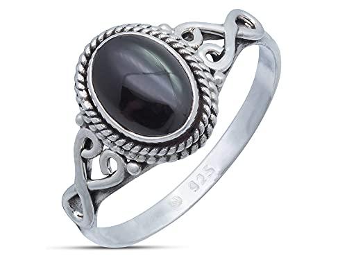 Ring Silber 925 Sterlingsilber Onyx schwarz Stein (Nr: MRI 42), Ringgröße:58 mm/Ø 18.5 mm