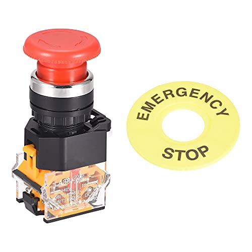 sourcing map 22mm Montaje Enganche Emergencia Detener Pulsar Botón Interruptor con 60mm Emergencia Detener Señal 1NO 1NC
