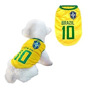 Vêtements pour chiens Football T-shirt Costume de chien nationale Football Coupe du monde FIFA Jersey pour animal de compagnie Brésil